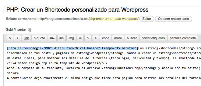 crear un shortcode en wordpress